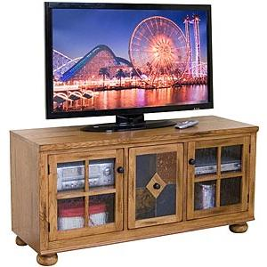 Rustic Oak TV Console w/Combo Drawer