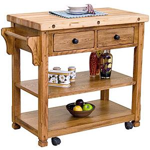 Rustic OakButcher Block Cart