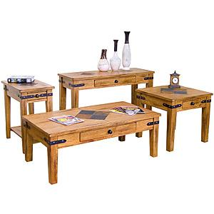Rustic OakInlaid Table Set