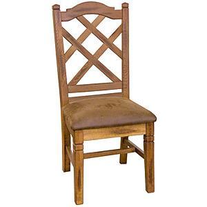Rustic Oak Slate Collection Rustic OakCrossback Chair W Cushion 1415RO