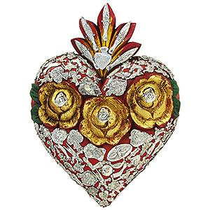 Large Red Heartwith Silver Milagros