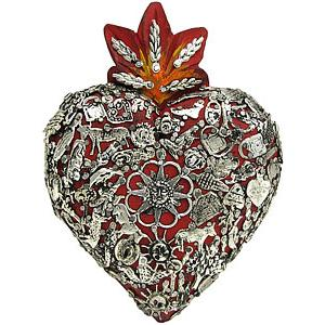 Small Red Heartwith Silver Milagros