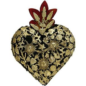 Small Black Heartwith Gold Milagros