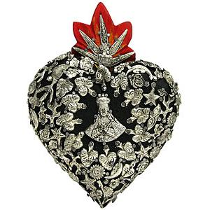 Small Black Heartwith Silver Milagros