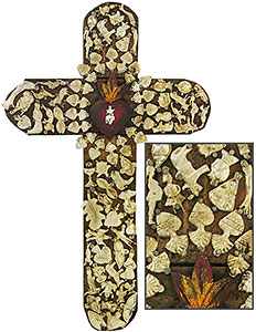 Large Brown & Red Crosswith Gold Milagros