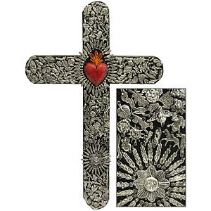 XXL Black & Red Crosswith Silver Milagros