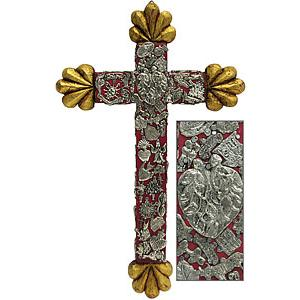 Med. Red & Gold Crosswith Silver Milagros