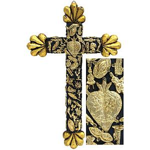 Medium Black & Gold Cross with Gold Milagros