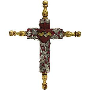 Small Red & Gold Cross with Silver Milagros