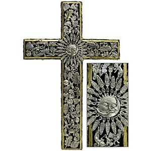 XL Black & Gold Crosswith Silver Milagros