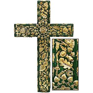 XL Green Cross with Gold Milagros