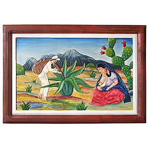 Tlaquichero y FamiliaCarved Relief Painting