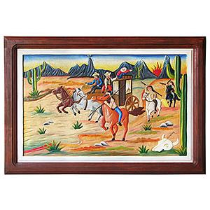 Cowboys & IndiansCarved Relief Painting