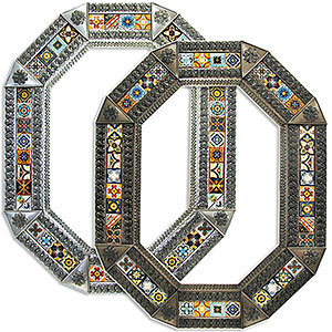 Octagonal Tile Mirrorw/ Multi-colored Tiles