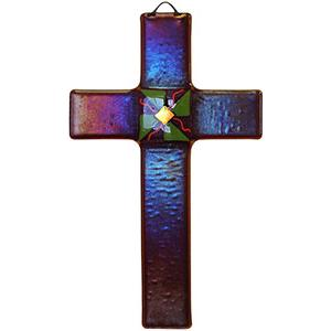 Fused Glass Cross with Red Iridescent Glass