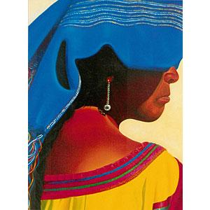 Mujer con Reboso AzulOil Painting on Canvas