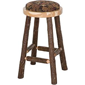 Upholstered Hickory Pub Stool