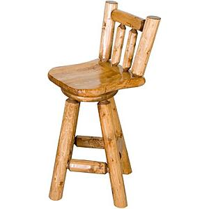 Log Swivel Bar Stool