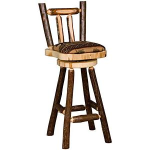 Upholstered Hickory Bar Stool
