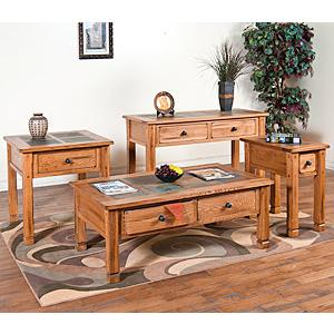 Rustic OakSlate Top Table Set
