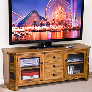Rustic Oak Raised TV Console