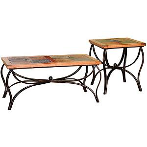 Rustic OakMetal Base Table Set