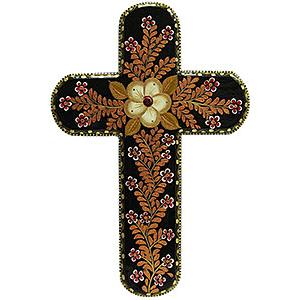 Brown Cross with Gold Flowers