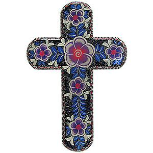Cross by Alicia Lopez:Black w/Purple Flowers