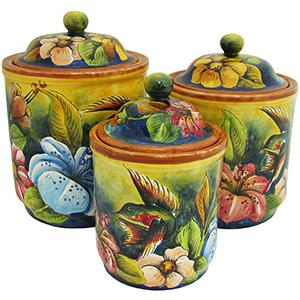 Round Hummingbird Kitchen Canister