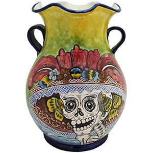 Day of the DeadMajolica Flower Vase