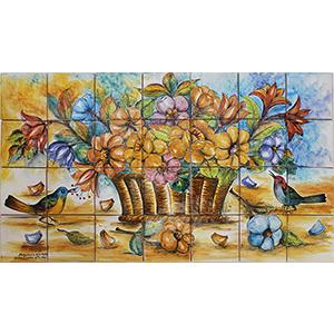 Birds & Flowers Majolica Tile Mural