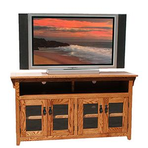 American Mission Oak56 Four Door TV Console