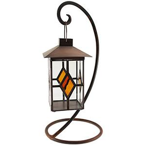 Amber Diamond Tea Light Lantern