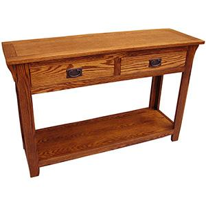 American Mission Oak Console Table w/ Drawers