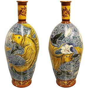 Fish and LiliesXL Majolica Vase