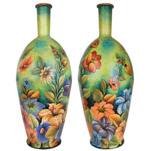 Tropical Flowers XL Majolica Vase