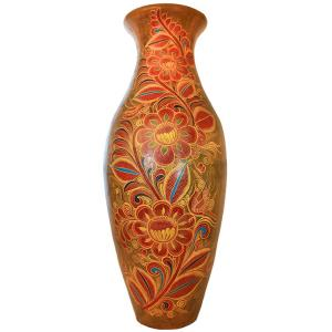 Six Foot Floor Vase:Flowers and Birds