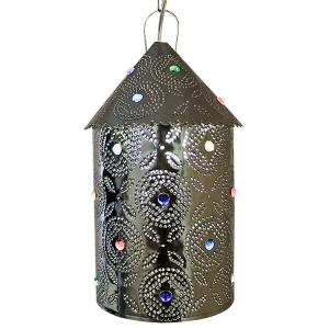 Bell Lantern w/Marbles:Natural Finish