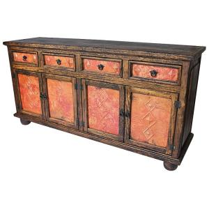 Four Door Sideboardw/ Copper Doors & Drawers