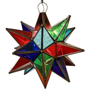 Mexican Tin Lighting Collection Multicolored Glass Star