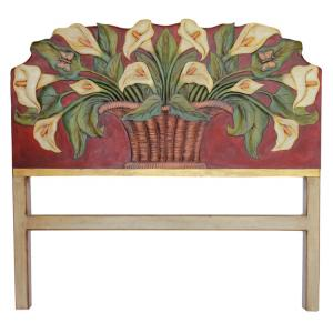 Red Calla LiliesCarved Headboard