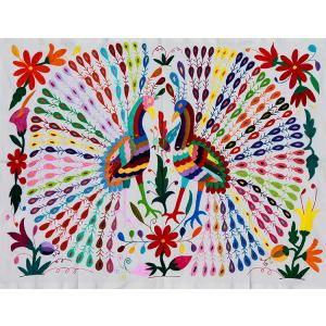 Twin PeacocksFino Quality Otomi Tapestry