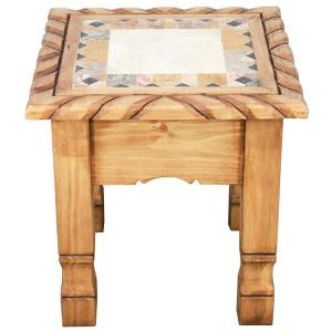 Texana End Tablew/Inlaid Marble