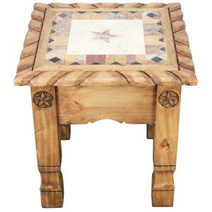 Texana Star End Tablew/ Inlaid Marble