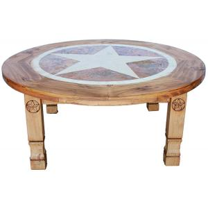 Round Julio Star Coffee Table w/Inlaid Marble