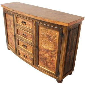 Curved Star Consolew/ Copper Doors & Drawers