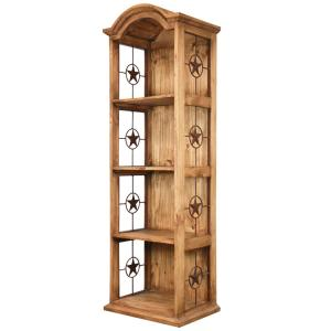 Narrow Bonnet Bookcase w/Stars