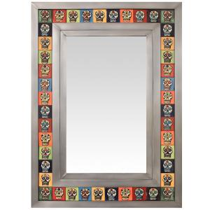 Talavera Tile Mirrorw/ Multi-colored Skull Tiles