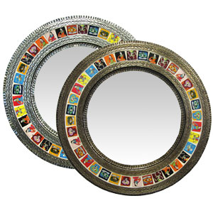 Round Tile Mirrorw/ Day of the Dead Tiles