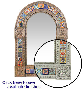 Arched Tile Mirror w/ Multi-colored Tiles